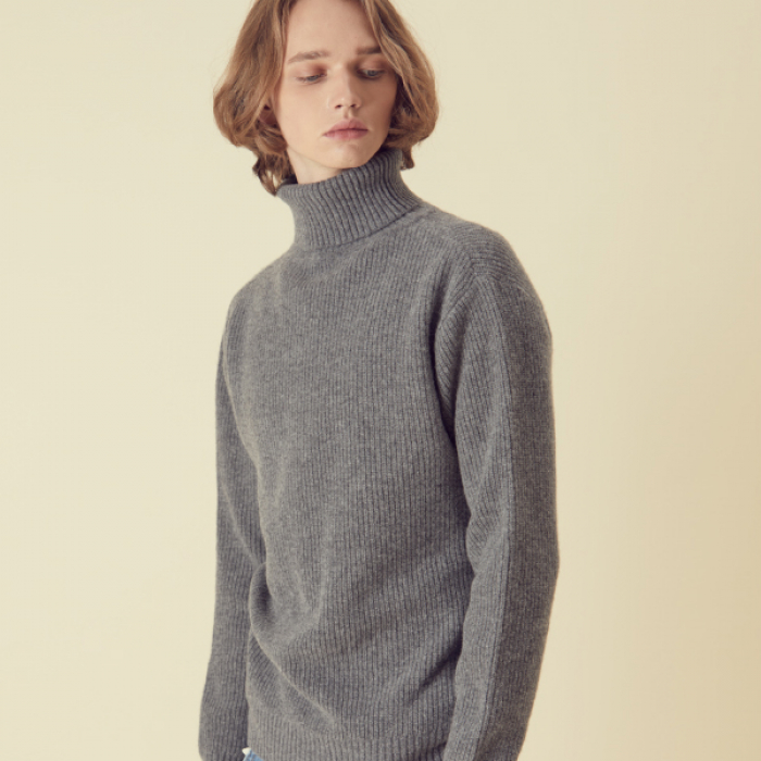 [아르테노] Wool80 Turtle neck Knit - Grey