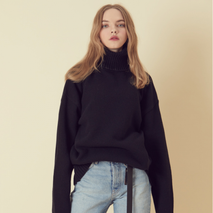 [아르테노] Wool80 Over size Turtle Neck - Black