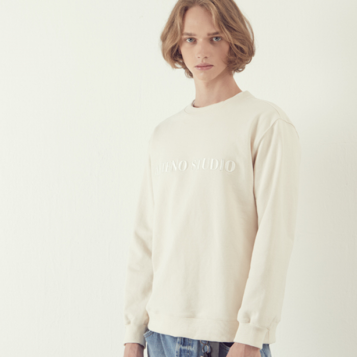 [아르테노] Lettering Sweat Shirt - Ivory