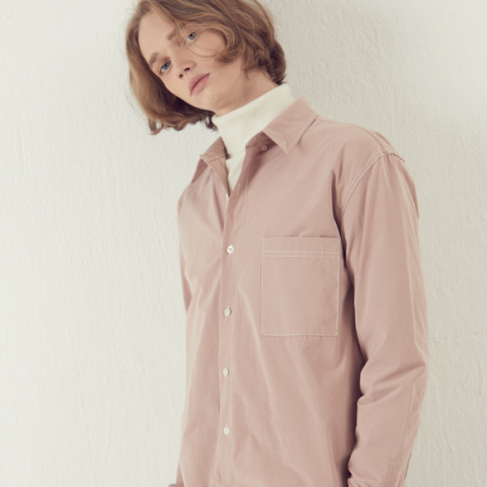 [아르테노] Solid Stitch Shirts - Pink