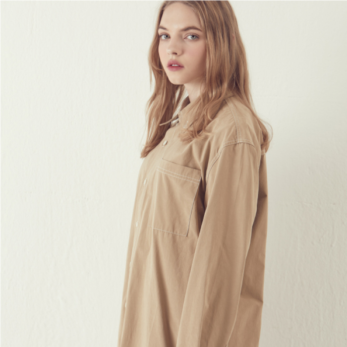[아르테노] Solid Stitch Shirts - Beige