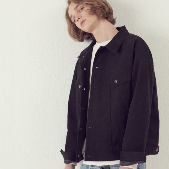 [아르테노] Solide Trucker Jacket - Black