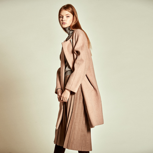 [더케이스토리] Simple Zip up Wool Coat_ Pink