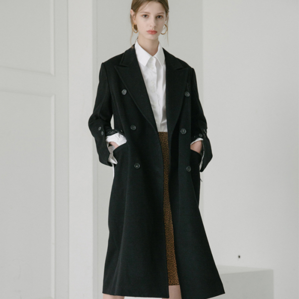 [무니드]  CASHMERE WOOL DOUBLE MAXI COAT-BLACK