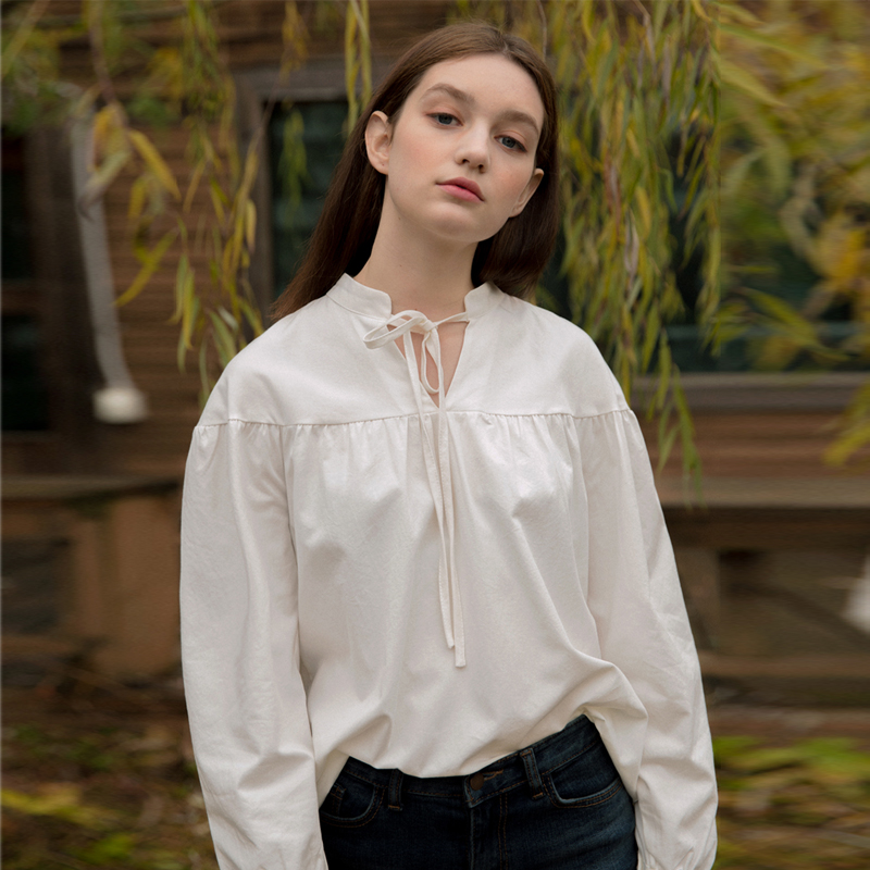 [클렛] SHIRRING STRING BLOUSE IVORY