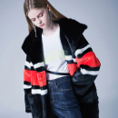 [블랭크] DARK STRIPE FUR COAT-RED
