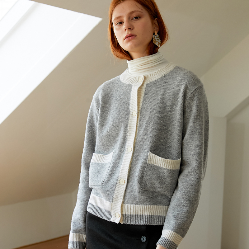 [엽페] COLOR WOOL CARDIGAN_GREY