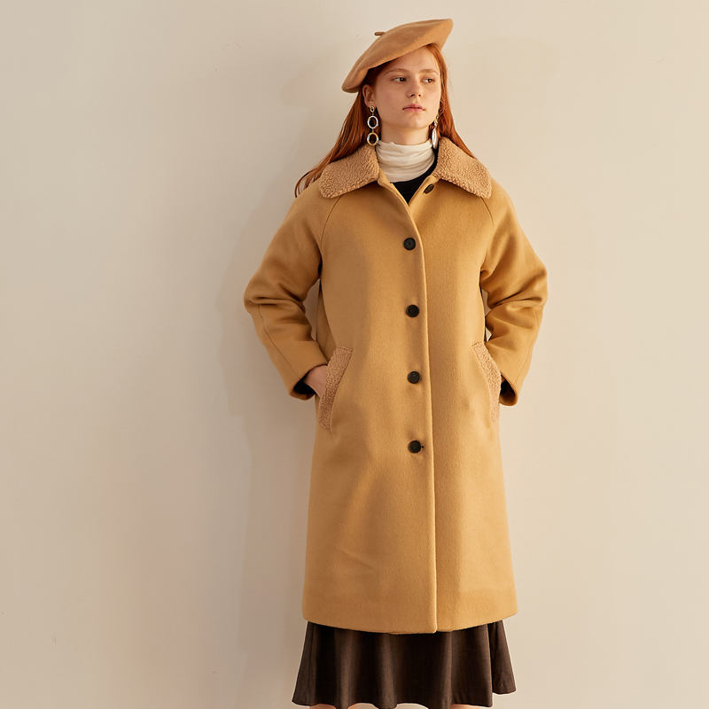 [엽페] FUR COLLAR COAT_BEIGE