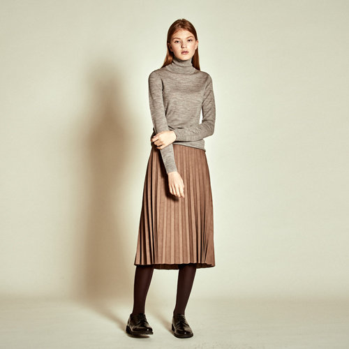 [더케이스토리] [TheKstory]Suede Pleats Skirt_ Beige