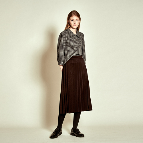 [더케이스토리] [TheKstory]Suede Pleats Skirt_ Wine