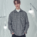 OVER FIT HERRING CHECK SHIRTS BLACK