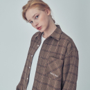 OVER FIT HERRING CHECK SHIRTS BROWN