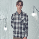 OVER FIT VEIN CHECK SHIRTS NAVY