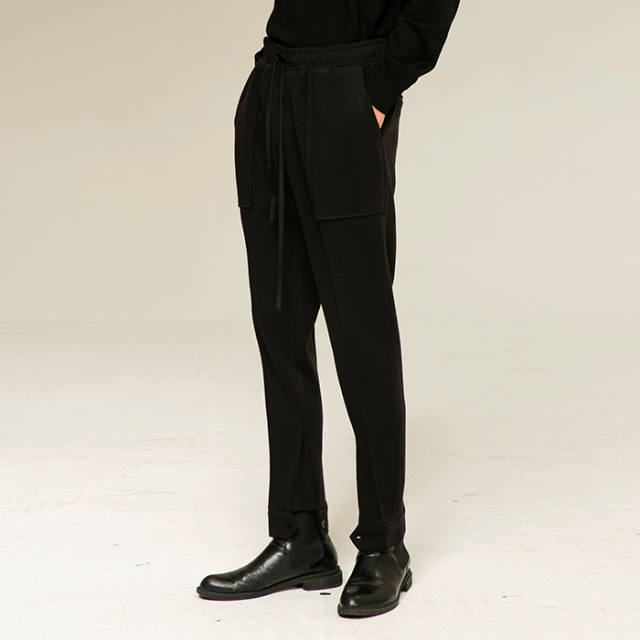 [노이어] [noirer]Wool Lounge Slim Pants Black