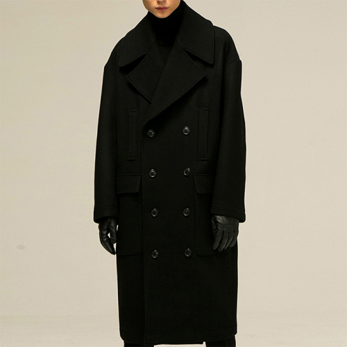 [노이어] [noirer]Over-Fit Officer Hood Coat Black