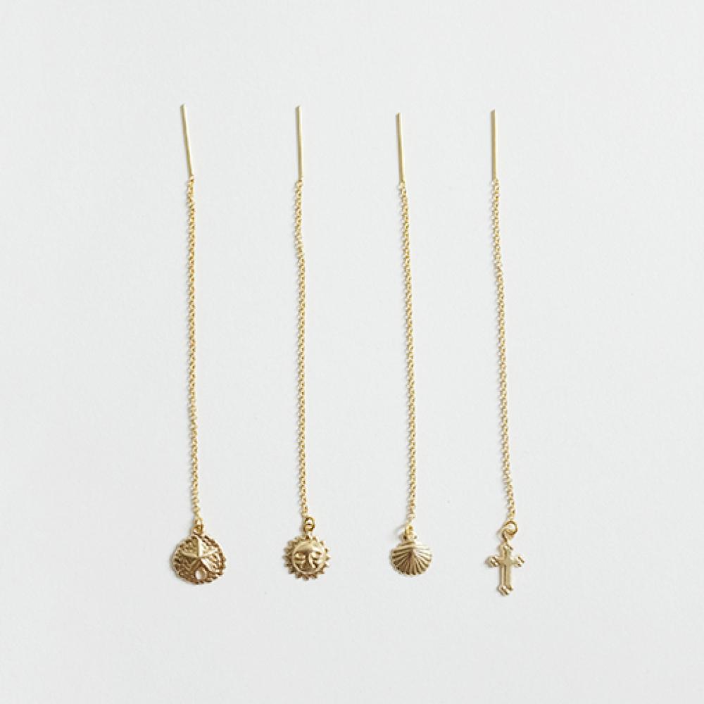 [비베] Gold pendant Long Earring