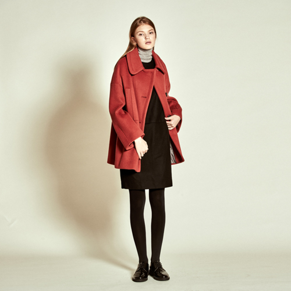 [더케이스토리] Cashmere Wool Trench Coat_ Red