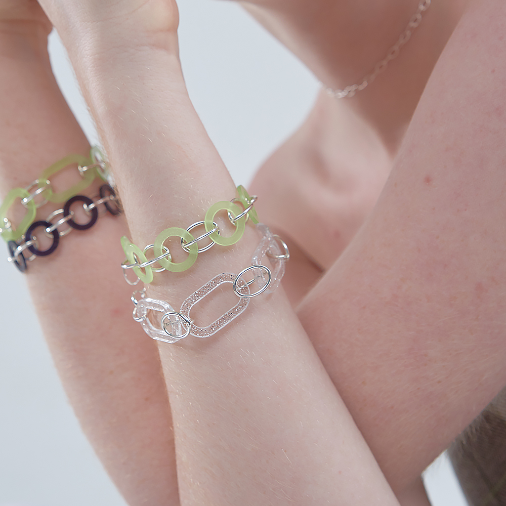 [090팩토리]Oval connection Bracelet(Navy,Green,White)