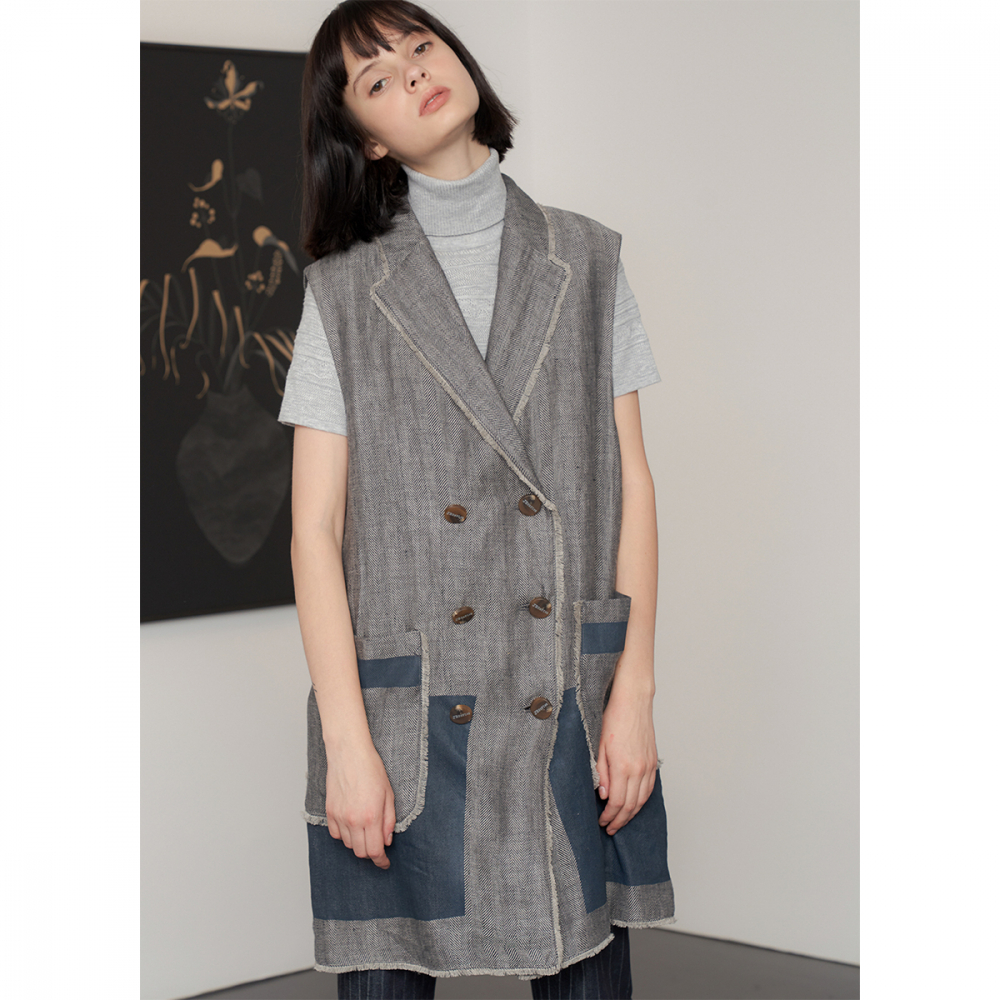 [제이비리파인] PATCHWORK LINEN LONG VEST