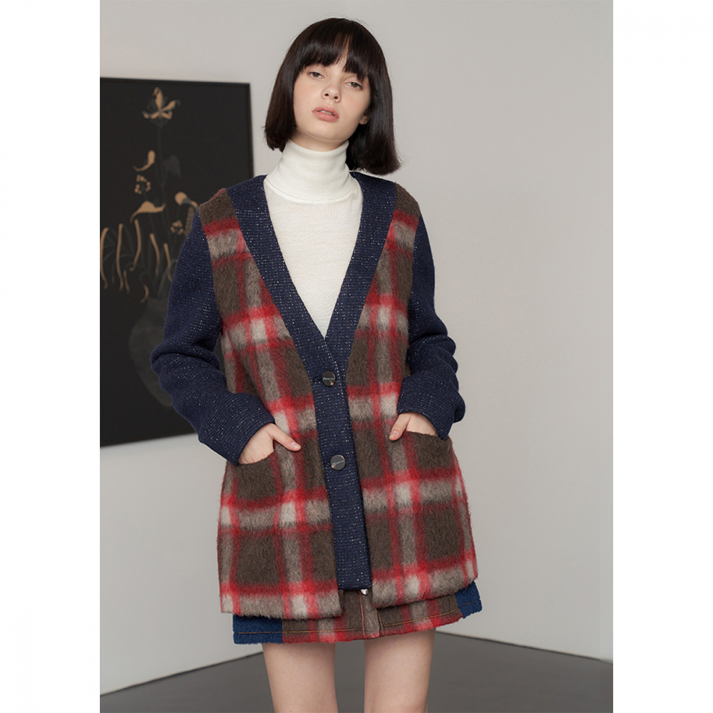 [제이비리파인] WOOL DOUBLE BUTTON CHECK CARDIGAN JACKET