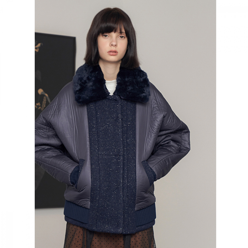 [제이비리파인] ITALIAN FABRIC WITH FAUX FUR COLLAR PADDED JACKET