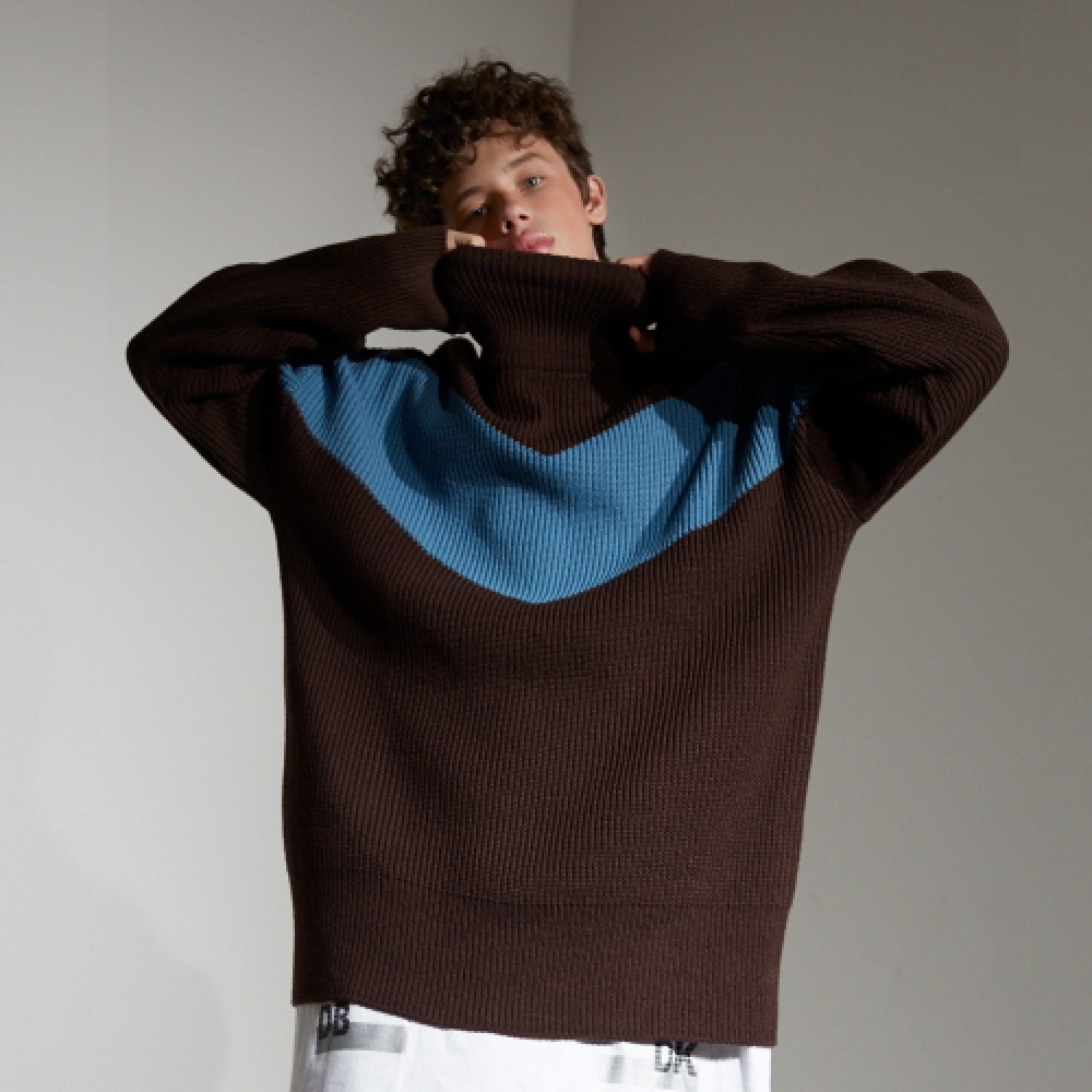 [디바이디그낙] Color Blocking Pull Over knit (BR)