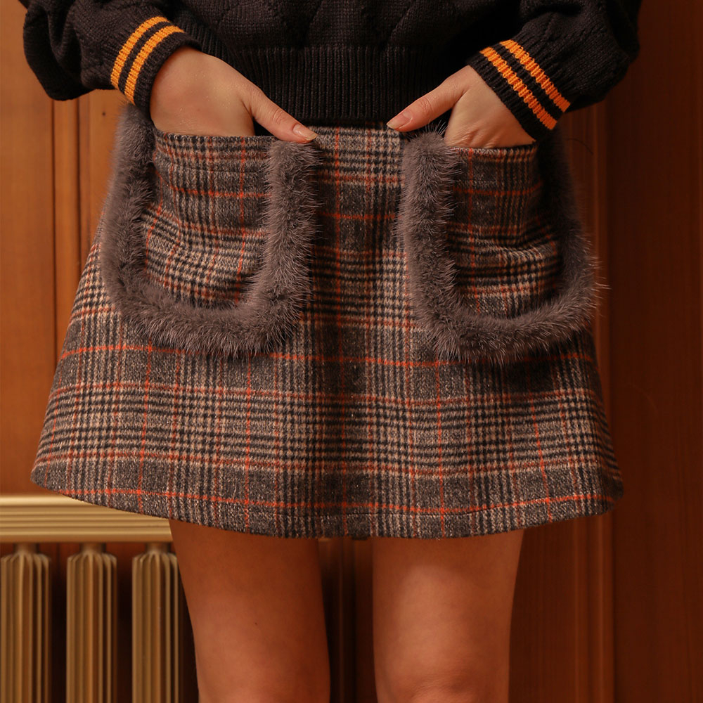 [와드로브] [WARDROBE] MINK POCKET MINI WOOL SKIRT_CHECK