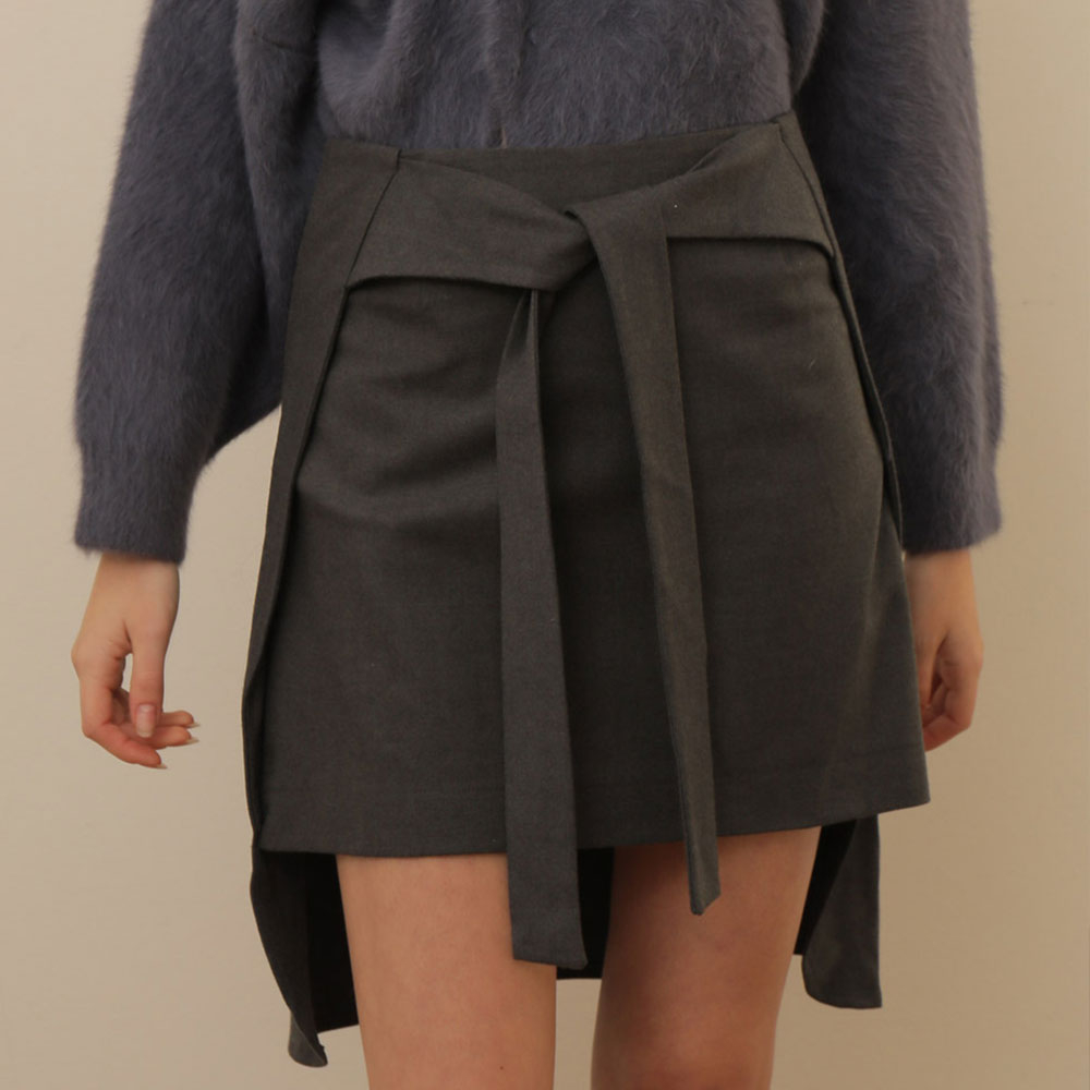 [와드로브] [WARDROBE] WOOL UNBALANCE TIED SKIRT_GRAY