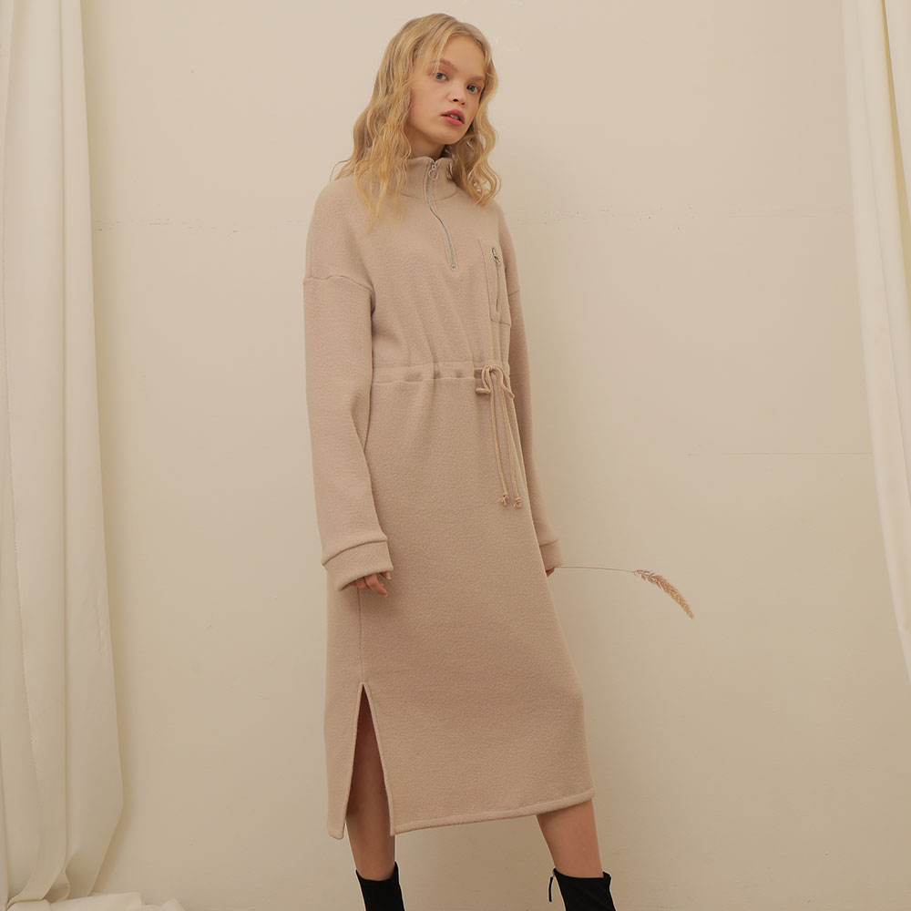 [와드로브] [WARDROBE] ZIPUP FLEECE KNIT ONE PIECE_BEIGE