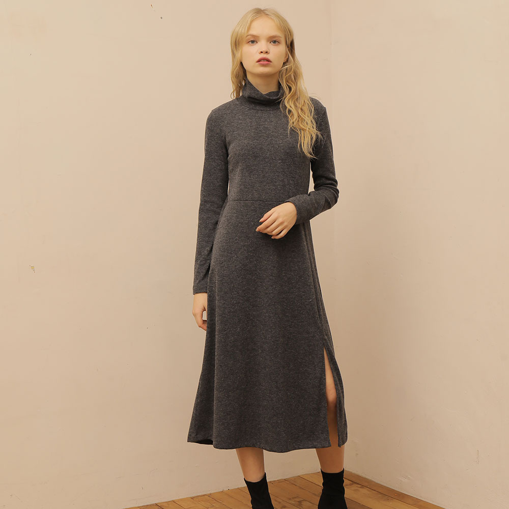 [와드로브] [WARDROBE] SLIT LONG TURTLENECK ONE PIECE_GRAY