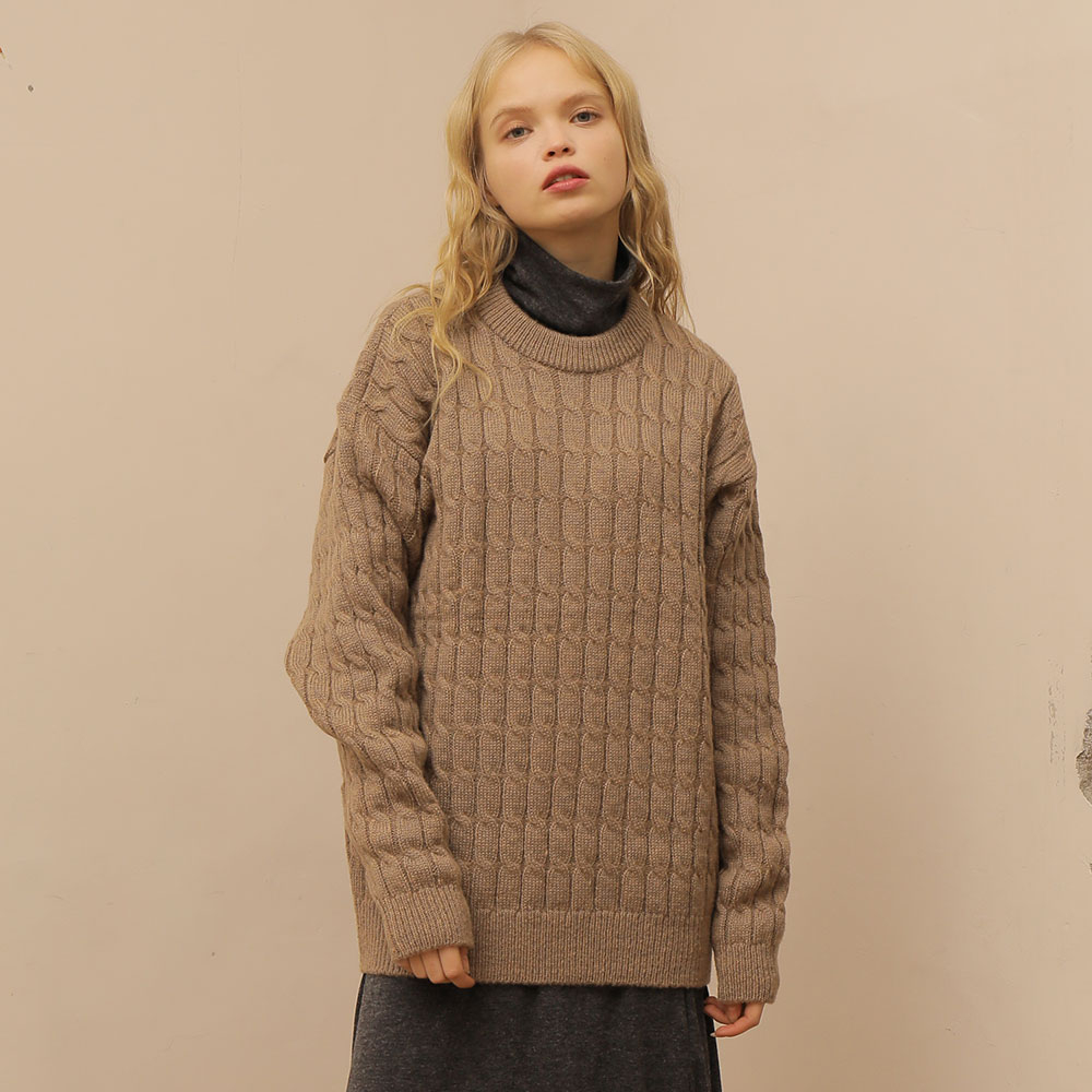 [와드로브] [WARDROBE] CABLE WOOL KNIT_BROWN
