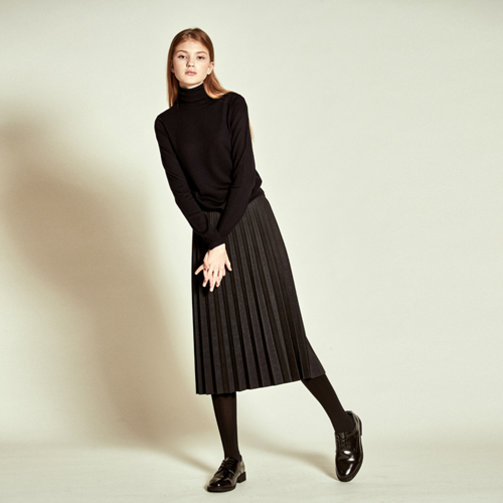 [더케이스토리] Suede Pleats Skirt_ D/Grey