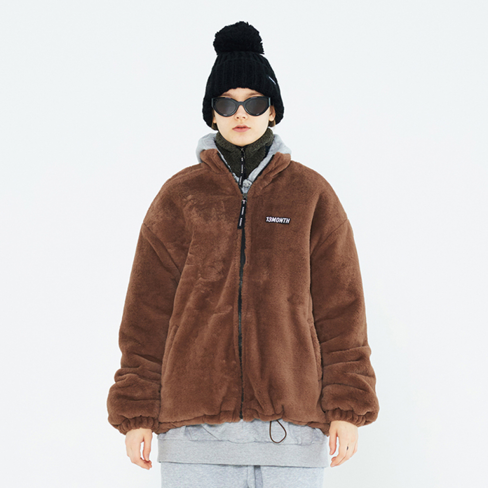 [써틴먼스] BROOCH WAIST STRING FUR JUMPER (BROWN)