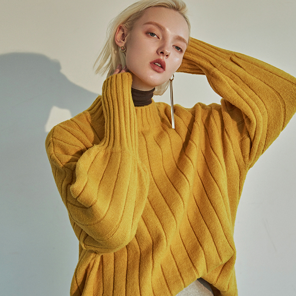 [DEANS] HALF NECK LOOSE SWEATER_YELLOW