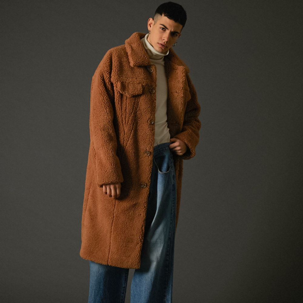 [스페로네]teddy trucker long coat