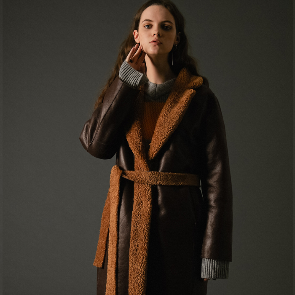[스페로네]faux reversible taylor coat brown