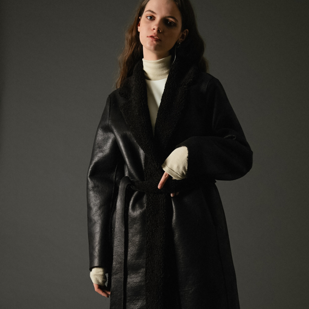 [스페로네]faux reversible taylor coat black
