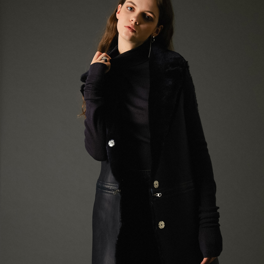 [스페로네]4way real merino wool vest coat black