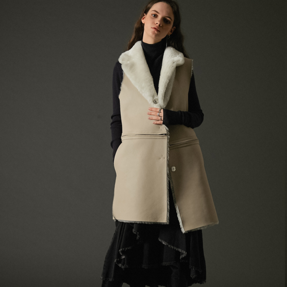 [스페로네]4way real merino wool vest coat ivory