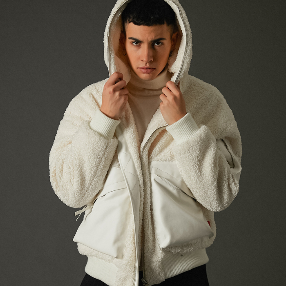 [스페로네] faux-fur workhoodie full zipup ivory
