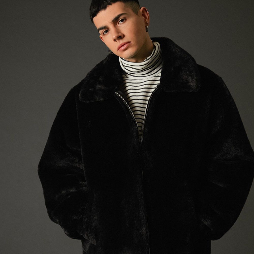 [스페로네] faux fur Szipup jacket black