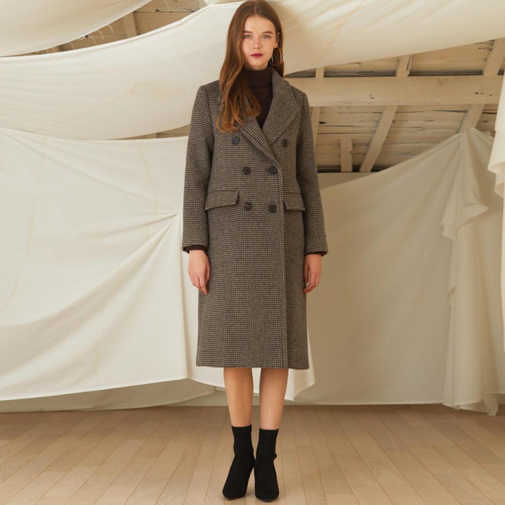[룩캐스트] BROWN CHECK DOUBLE WOOL COAT