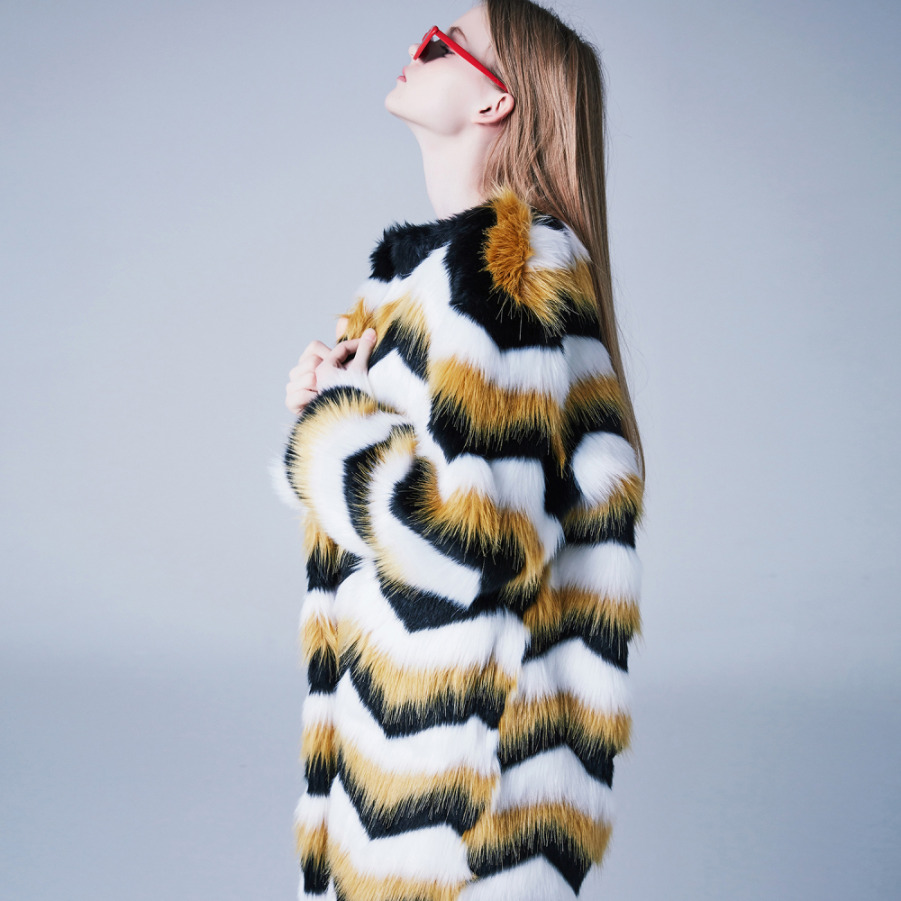 [블랭크] STRIPE FUR COAT-YELLOW