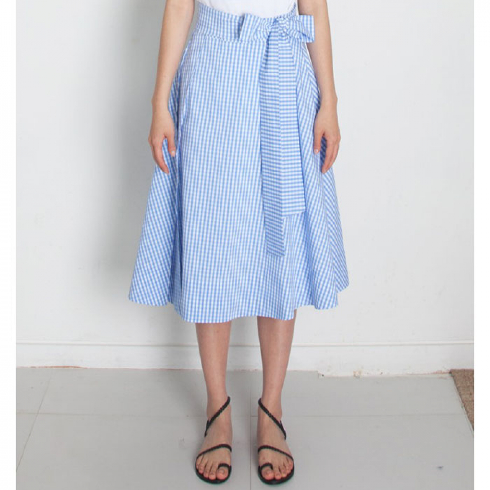 [perla] Belted Midi Skirt (Blue Check)
