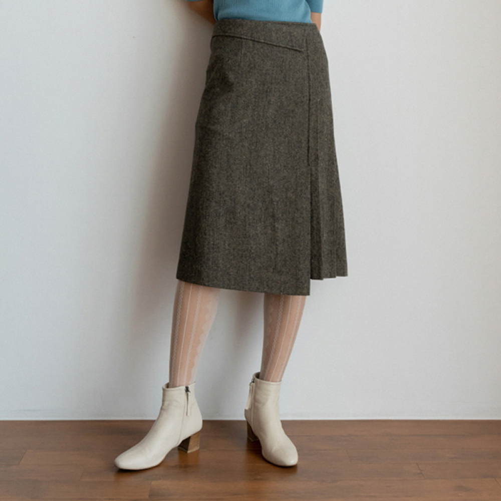 [perla] Wool Tweed Pleated Skirt