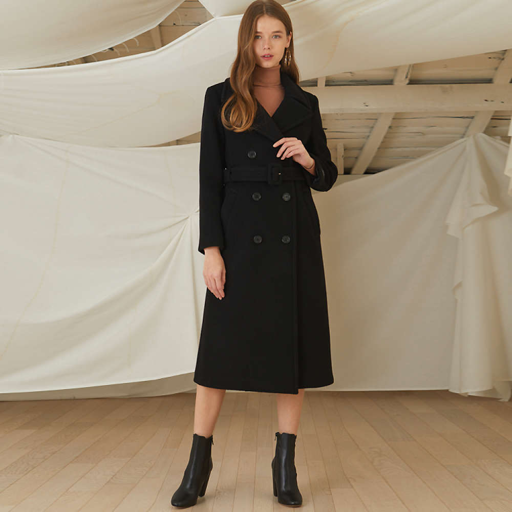 [룩캐스트] BLACK BELT WOOL COAT