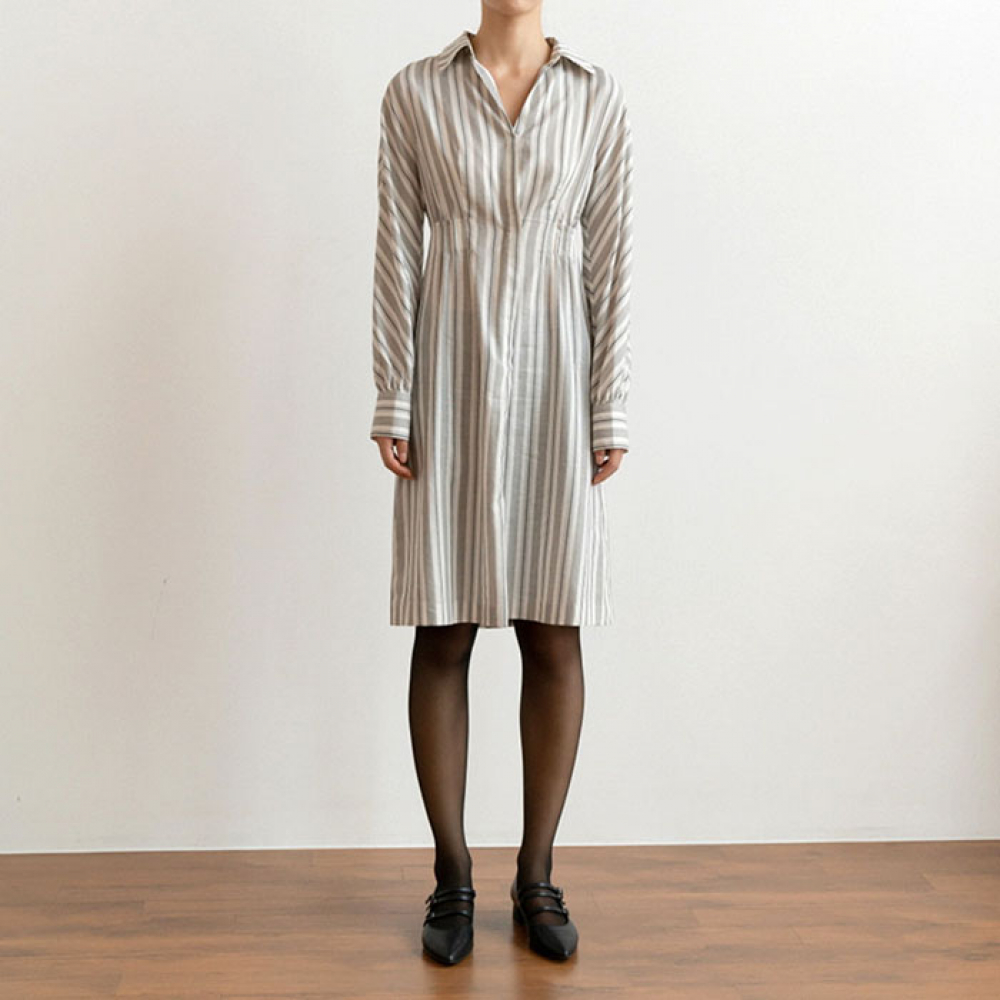[perla] Shirts Dress (Stripe)