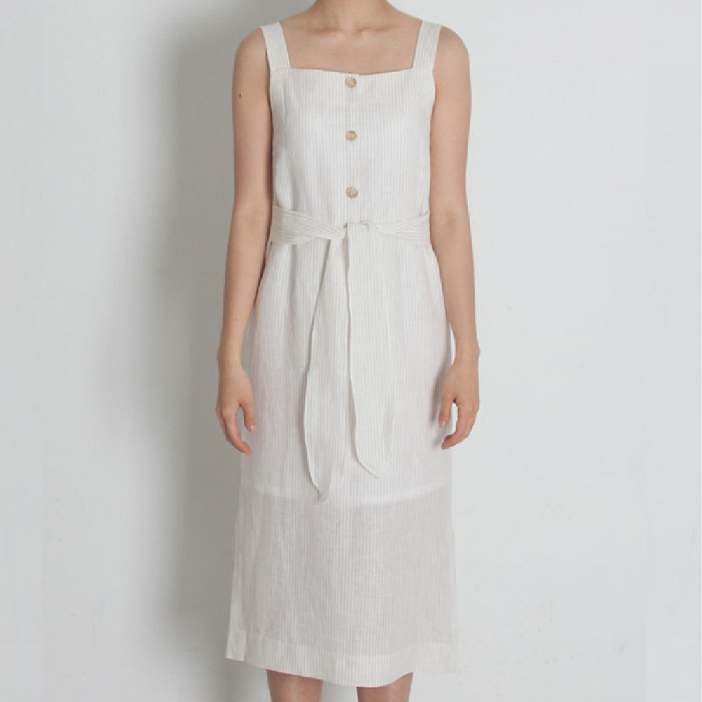 [perla] Square Neck H-line Dress (Ivory Stripe)