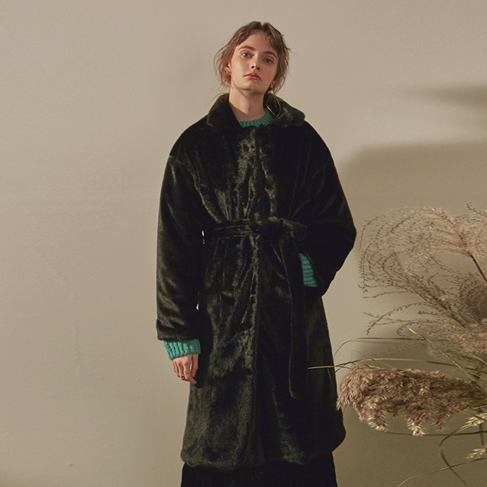 [YAN13] SOFT FUR ROBE LONG COAT_BLACK
