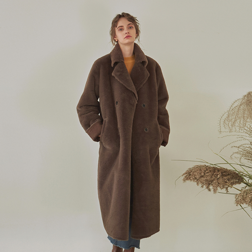 [YAN13] DOUBLE FACED LONG MUSTANG COAT_BROWN